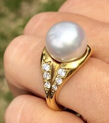 18k Yellow Gold Huge 12mm Large White South Sea Pearl Diamond Cocktail Ring 6.25