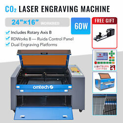 60w 16x24 In. Bed Co2 Laser Engraver Cutter Engraving Machine With Rotary Axis B