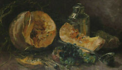 Signed And Dated 1970 - Still Life With Grapes And Melon