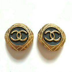 Vintage Cc Earrings Clip On Womens Jewelry Gold Plated Black Diamond 1980