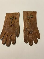 Antique Early 1900andrsquos Fownes Make Leather Baby/childs Gloves Size 00
