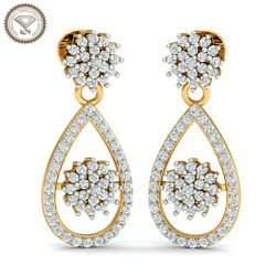 Igi Certified Natural White Diamond G-h Color And 18k Yellow Gold Earrings Set 84