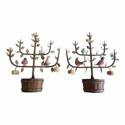 Pair Of Italian Tole Espaliered Trees In Faux Bois Baskets