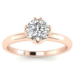 0.76ct D-si1 Diamond Vintage Engagement Ring 18k Rose Gold Any Size