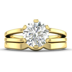 0.76ct D-si1 Diamond Split Shank Engagement Ring 18k Yellow Gold Any Size