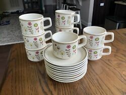 Set Of 9, Temper-ware By Lenox, Sprite, Tea Coffee Cup And Saucer
