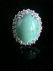 Vintage 1940s 18ct White Gold Natural Turquoise Diamond Cocktail Cluster Ring