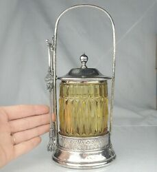 Antique Victorian Silver Plate And Yellow Cut Glass Pickle Jar Castor With Tongs