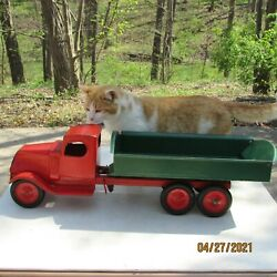 1930and039s Turner Toys Mack Dump Truck - Pressed Steel Toy U.s.a Made Dayton Ohio