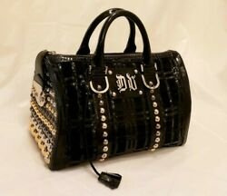 Versace Studded Woven Leather Suede Doctor Handbag Made In Italy