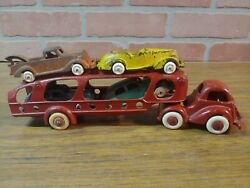 Vintage 1930's Hubley Transport Car Hauler Cast Iron Toy 2292 With 4 Cars