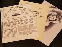Titanic Film Tickets, Sketch, And Note From Rose Screen Accurate Prints