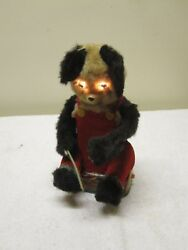 Vintage Alps 1950s Fishing Bear Tin Toy Battery Japan Works But Missing Parts