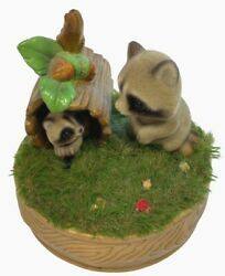 Vtg Josef Originals Raccoon And Baby Musical Moving Everything Is Beautiful Wind