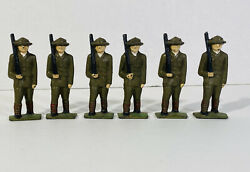 """Vintage Military Toy Soldiers 3"""" Army Men Lead Cast Iron Metal Lot Of 6 Painted"""
