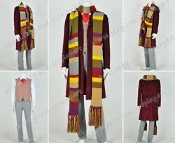 Who Cosplay Doctor The 4th Fourth Dr Tom Baker Costume Uniform Scarf Full Set