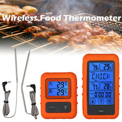 Digital Wireless Remote Food Thermometer 2probe For Smoker Grill Bbq Up To 100ft
