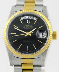 Bulova Super Seville Day And Date Automatic Steel Gold Vintage Mens Wrist Watch