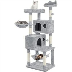Large Cat Tree Tower for Indoor Cats Activity Center with Hanging Ball amp; Hammock