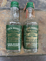 Set Of Two 1968 Jack Danieland039s Green Label Eastern Airlines Whiskey Bottle Rare