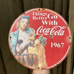 """Vintage 1967 Things Go Better With Coca-cola Porcelain 12"""" Coke Gas Oil Sign"""