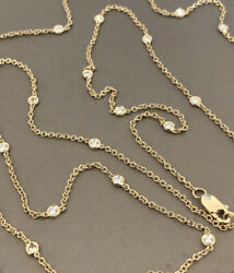 18ct Yellow Gold Solitaire Diamond Necklace 1ct 36andrdquo Long Station By Yard