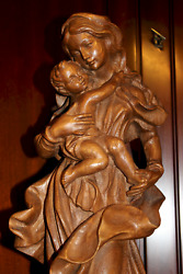 20 Antique Hand Carved Wood Our Lady Virgin Mary Madonna + Jesus Statue Figure