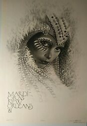 Mardi Gras Poster 1981 New Orleans, S/n 499/1500 James Russell,vintage 23x33 M