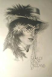 Mardi Gras Poster 1987 New Orleans By James Russell Vintage 23x35 Vf-nm