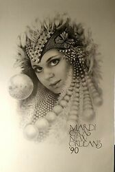 Mardi Gras Poster 1990 New Orleans By James Russell Vintage 23x35 New Nm-m