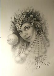 Mardi Gras Poster 1990 New Orleans Signed By James Russell Vintage 23x35 Nm-m