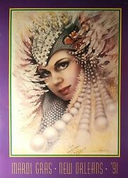 Mardi Gras Poster 1991 New Orleans Signed By James Russell, Vintage 22x30 Vf-nm
