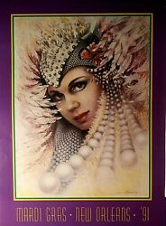 Mardi Gras Poster 1991 New Orleans By James Russell Vintage 22x30 New Nm-mint