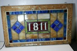 Antique Stained Glass Transom Window 30 X 18 - Address 1811 - Architect Salvage
