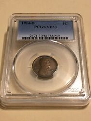 1914-d Pcgs Vf30 1c Lincoln Cent Wheat Ears Penny 8949