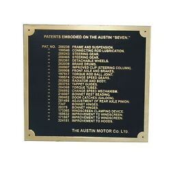 Austin 7 Seven Ruby Car Dashboard Patents Plate Badge Brass Plate 1937-39