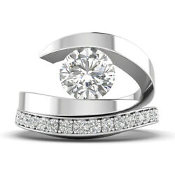 1.42ct F-vs2 Diamond Tension Engagement Ring 14k White Gold Any Size