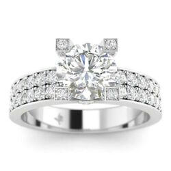 1.45ct D-si1 Diamond Pave Engagement Ring 18k White Gold Any Size