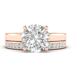 1.21ct D-si1 Diamond Plain Band Engagement Ring 18k Rose Gold Any Size
