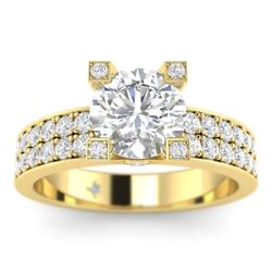 1.45ct E-vs2 Diamond Pave Engagement Ring 18k Yellow Gold Any Size