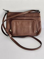 NORDSTROM Brand Leather Crossbody Bag Purse Brown Zip Top Closure Compartments $32.00