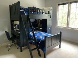 Pottery Barn Camp Twin Loft System And Lower Bed Set+chest Of Drawers And Desk Chair