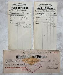 Victor Colorado The Bank Of Victor 1899 Vignette Check And 2 Deposit Slips Rare