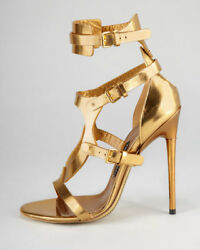 Tom Ford Triple Buckle Gold Sandals Sz 38.5 = Us 8 - 8.5 - Pre-owned
