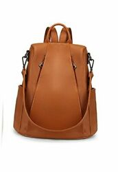 Backpack Purse For Women Anti-theft Leopard Genuine Leather Large 03brown New