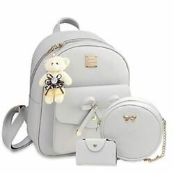 Bowknot Mini Leather Backpack 3-pcs Cute Small Backpack Purse For Women Grey
