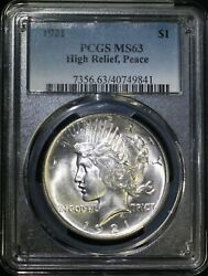 1921 P Peace Silver Dollar Pcgs Ms63 Choice Bu High Relief Key Date Low Mintage