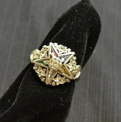 Vintage 10k White Gold Eastern Star Colored Spinel Stones Ring Sz 6 Masonic