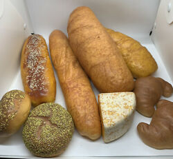Fake Food Lot 9 Bread Loaf Croissant Bagels French Seed Prop Store Display Faux