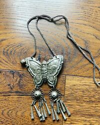 Vintage Antique Ethnic Persian Sterling Silver Pendant Necklace Butterfly